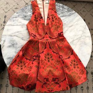 Alice + Olivia Mollie Box Pleat V-neck Flare Dress